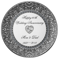 Diamond Wedding Anniversary Porcelain Plate