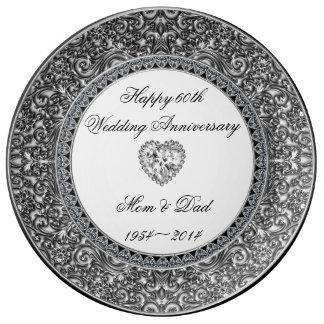 Diamond Wedding Anniversary Porcelain Plate