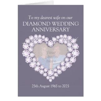 Diamond wedding anniversary wife photo card