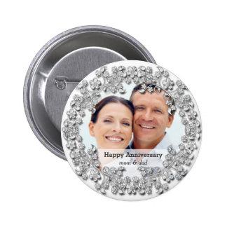 Diamond wedding anniversary with a photo 6 cm round badge