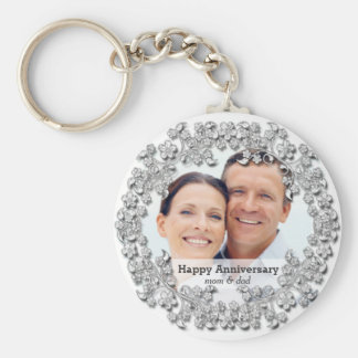Diamond wedding anniversary with a photo basic round button key ring