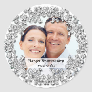 Diamond Wedding Anniversary with a photo Classic Round Sticker
