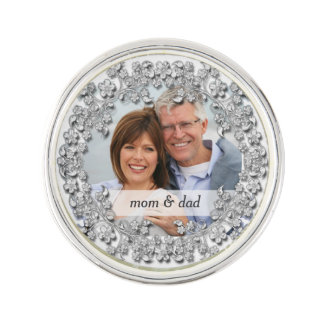 Diamond Wedding Anniversary with a photo Lapel Pin