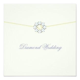 Diamond Wedding Anniversary with Diamond Broach 13 Cm X 13 Cm Square Invitation Card