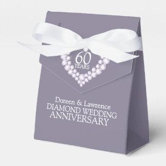 Diamond wedding heart 60 years thank you favor box
