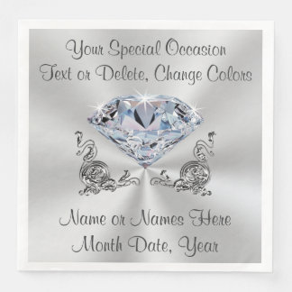 Diamond Wedding Napkins, Anniversary or Birthday Paper Serviettes