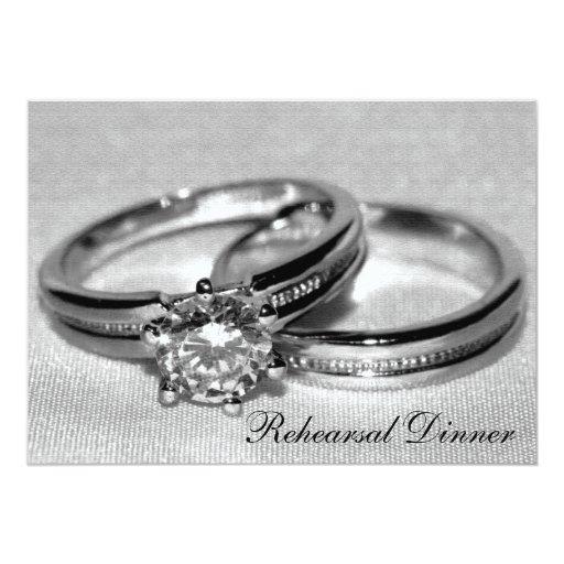 Diamond Wedding Ring Set Rehearsal Dinner Invite