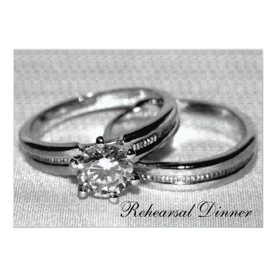 Diamond Wedding Ring Set Rehearsal Dinner Invite