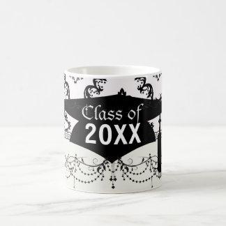 diamond white black damask elegance graduation mugs