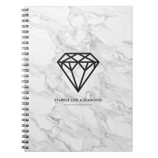 Diamond with Marble Spiral Note Books