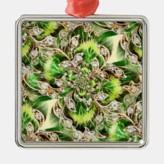 Diamonds and Clover Rosette Silver-Colored Square Decoration