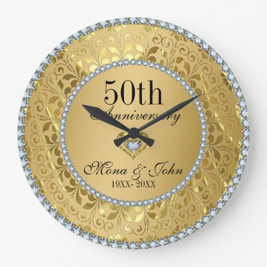 Diamonds And Gold 50th Wedding Anniversary Large Clock