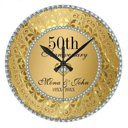 Diamonds And Gold 50th Wedding Anniversary Wallclocks
