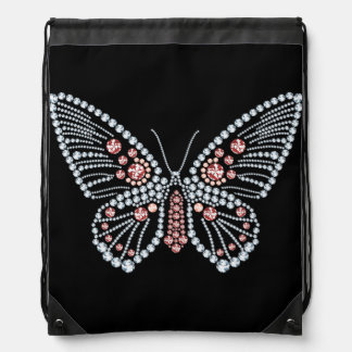 Diamonds and Ruby Butterfly Design Tote Drawstring Bag
