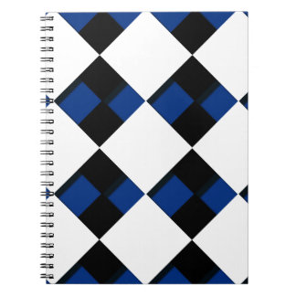 Diamonds and Shadows in Blue, Black, and White Notebook