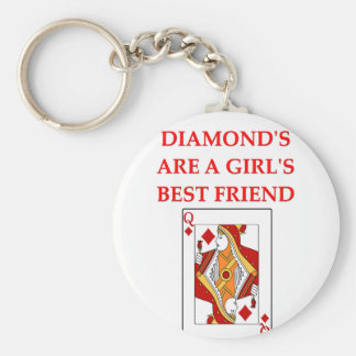 diamonds are a girl's best friend basic round button key ring
