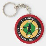 DIAMONDS ARE A GIRLS BEST FRIEND - WOMENS SOFTBALL BASIC ROUND BUTTON KEY RING