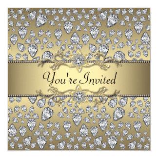 Diamonds Black and Gold All Occasion Party 13 Cm X 13 Cm Square Invitation Card
