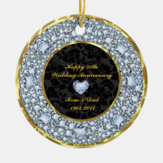 Diamonds, Black & Gold 50th Wedding Anniversary Christmas Ornament