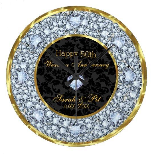 Diamonds, Black & Gold 50th Wedding Anniversary Clocks