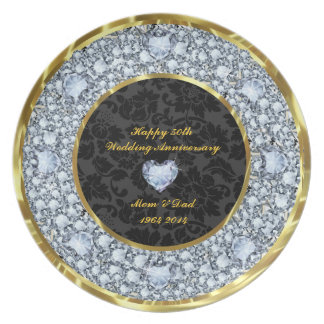 Diamonds, Black & Gold 50th Wedding Anniversary Plate