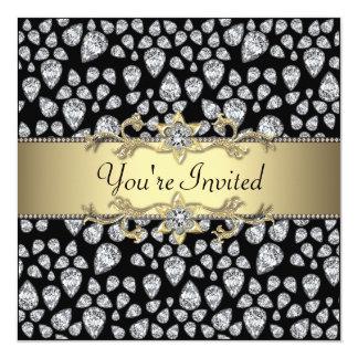 Diamonds Black Gold All Occasion Party 13 Cm X 13 Cm Square Invitation Card