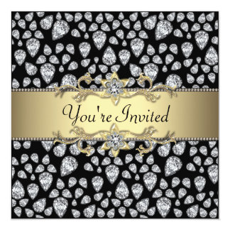 Diamonds Black Gold All Occasion Party Card