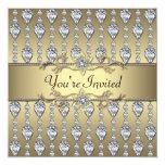 Diamonds Black & Gold All Occasion Party Invitatio 13 Cm X 13 Cm Square Invitation Card