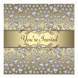 Diamonds Black Gold All Occasion Party Personalized Invitation