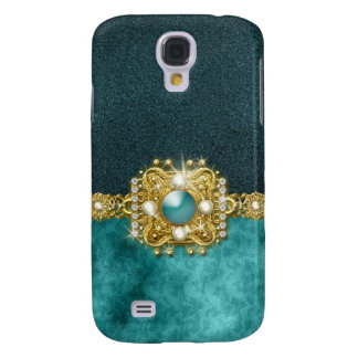 Diamonds bling teal gems damask samsung galaxy s4 cases