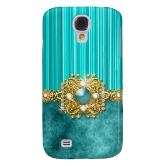 Diamonds bling teal gems damask galaxy s4 case