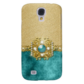 Diamonds bling teal gems damask galaxy s4 case