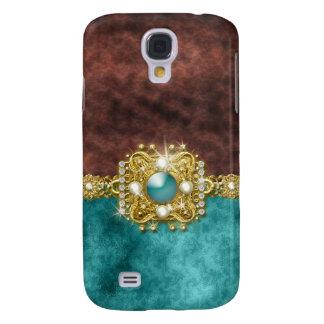 Diamonds bling teal gemstones damask galaxy s4 case