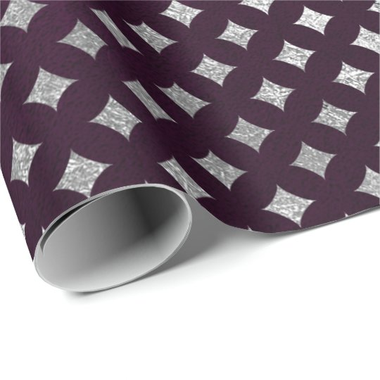 Diamonds Cut Silver Plum Purple Velvet Wrapping Paper