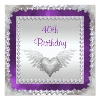 Diamonds & Feathers 40th Birthday Card