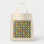 Diamonds floral colourful pattern art tote bag