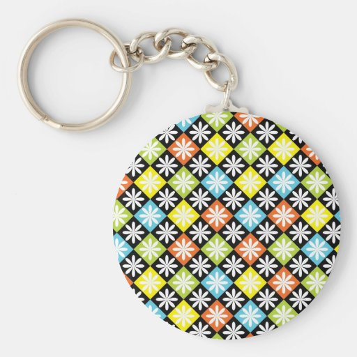 Diamonds floral colourful pattern keychain
