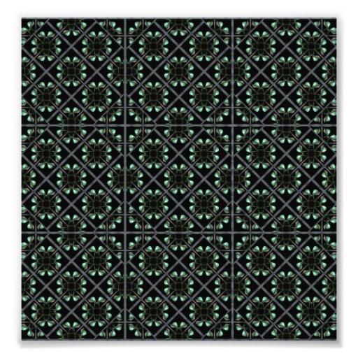 Diamonds Flowers Pattern. Photo Print