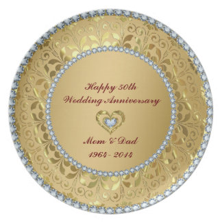 Diamonds & Gold 2 50th Wedding Anniversary Plate