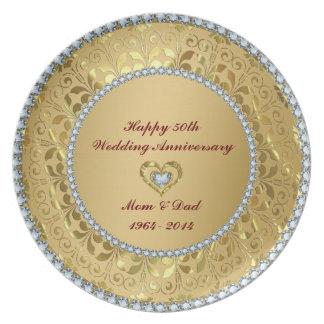 Diamonds & Gold 2 50th Wedding Anniversary Plate