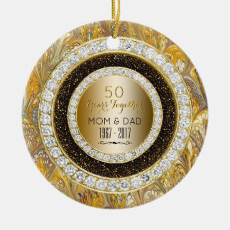 Diamonds Gold 50th Wedding Anniversary 50 Years Christmas Ornament