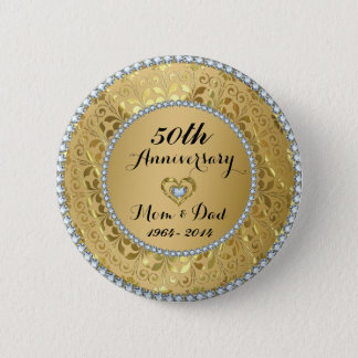 Diamonds & Gold 50th Wedding Anniversary 6 Cm Round Badge