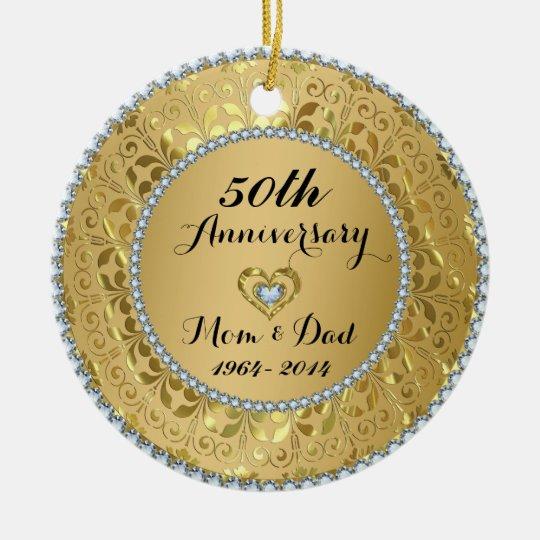 Diamonds & Gold 50th Wedding Anniversary Christmas Ornament