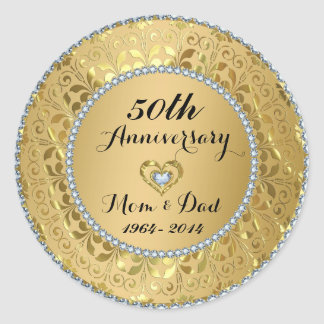 Diamonds & Gold 50th Wedding Anniversary Classic Round Sticker