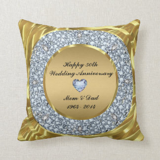 Diamonds & Gold 50th Wedding Anniversary Cushion