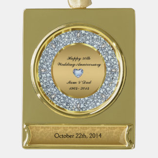 Diamonds & Gold 50th Wedding Anniversary Gold Plated Banner Ornament