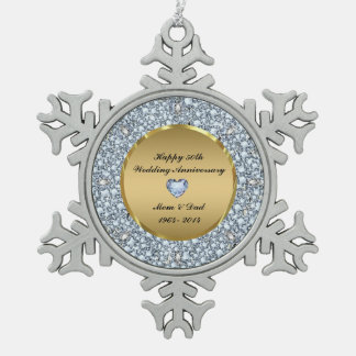 Diamonds & Gold 50th Wedding Anniversary Pewter Snowflake Decoration