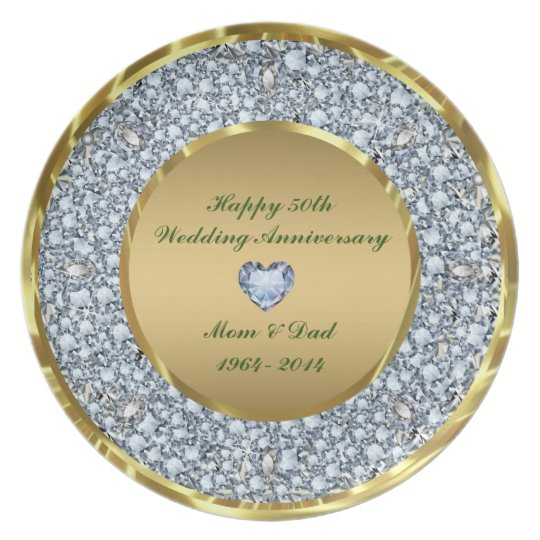 Diamonds & Gold 50th Wedding Anniversary Plate