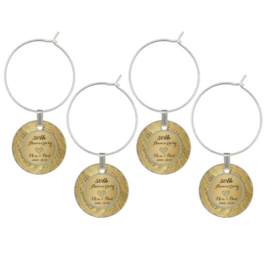 Diamonds & Gold 50th Wedding Anniversary Wine Charm