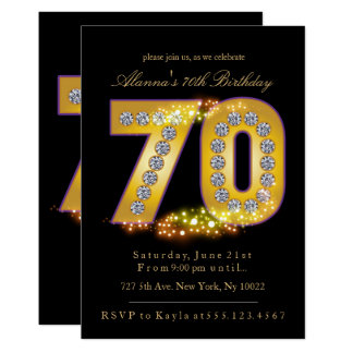 Diamonds & Gold, 70th Birthday Invitations